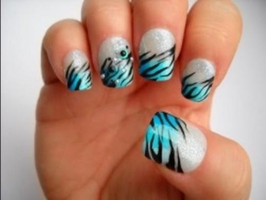 Black and Blue Zebra Nails