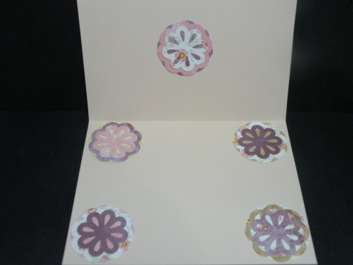 extra flower layers adhered to inside card