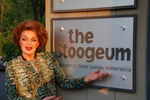 Marilyn Hanold, former Playboy Playmate and  Stooges supporting actress (Space Ship Sappy) visiting The Stoogeum, April 2010