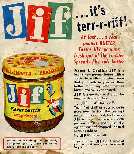 Jif peanut butter advertisement
