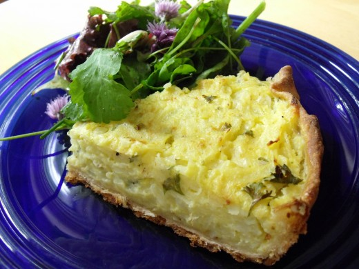 Swiss potato pie served with tossed garden salad.