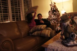 Impromptu pillow fight