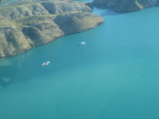On the left is the houseboat we stayed overnight on ! You can see the entrance to the Horizontal Falls !