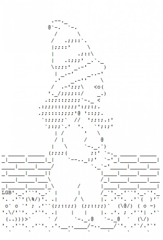 Ascii art gnomes http thatgrrl hubpages com hub garden gnomes in ascii