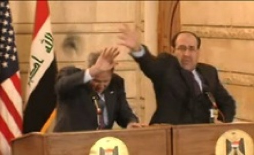 Muntadhar al-Zaidi threw his shoes at then U.S. President George Bush in a 14 December 2008, press conference in Baghdad, Iraq.