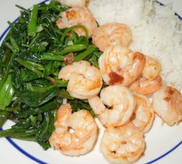 Ong Choy - Water Spinach with Shrimps and Steam Rice
