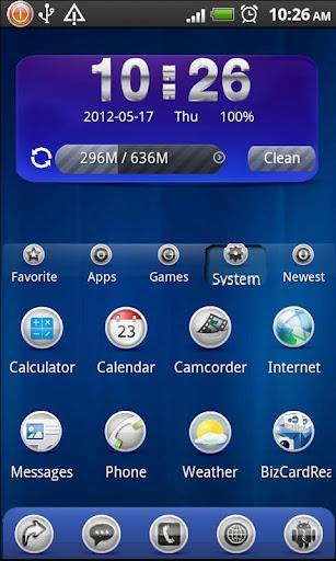 Mobo Launcher, note the 3 panel design: regular desktop, app groups, and scrollable dock area