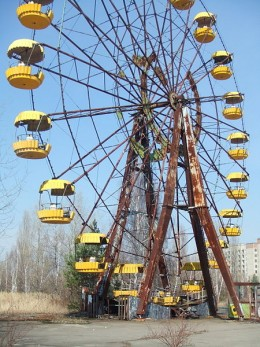 A ferris wheel in Pripyat that was set to open four days after the nuclear accident.  Opening day never came