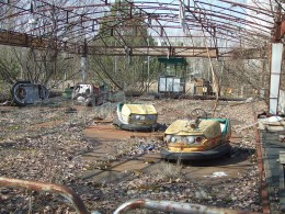 Bumper cars in Pripyat's amusement park which look frozen in time