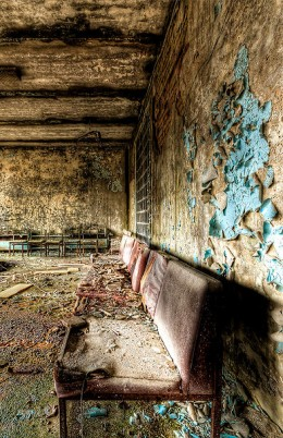 Seats at a hospital lobby in Pripyat