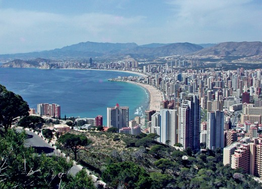 Looking down on Benidorm the Playa de Llevante is the first beach.