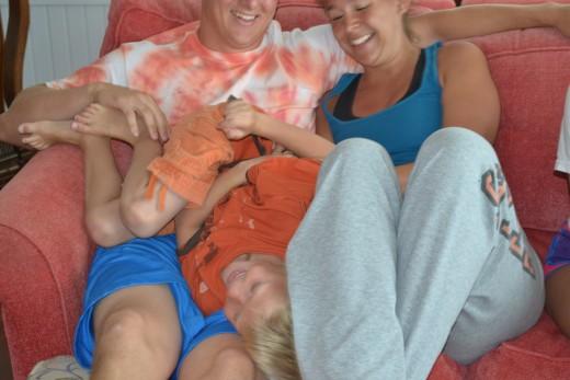 Family enjoying each other