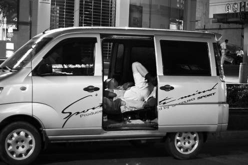 Take a nap in my van in the busiest part of mainland China.