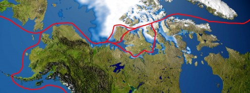 Popular Northwest Passage routes. Based on a NASA image.
