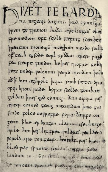 The original image of the Beowulf manuscript