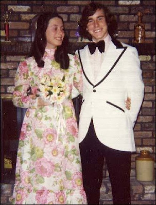 1970's prom style. It was the girl who asked the guy to prom.