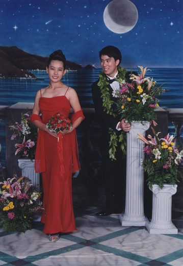 2000's prom photo. The backdrop has changed over the years as well.