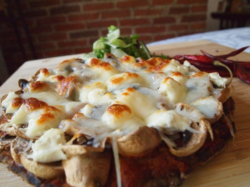 Homemade pizza recipe: The Spiced-Up Mushroom & Goat Cheese Pita Pizza.