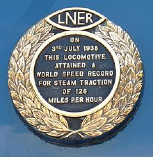 The brass plaque on 'Mallard' commemorating the 126 mph achieved near Grantham on what Nigel Gresley scheduled as a 'brake test' with the Westinghouse Corporation