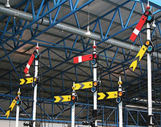 Semaphore signal gantry in the Great Hall demonstrates signalling used into the 1950s, even at many main line stations. Colour light signalling was installed in many places on the  Main Line, notably on the 'Race Track' between York and Darlington
