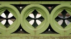 The Albert Bridge, Belfast. Detail of the ironwork on parapet on the northern side of the bridge.