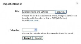 Select the ICS file you saved on your computer to merge it with your Google calendar.