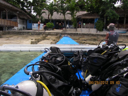 Our overloaded diving outrigger boat at Cebu Diver's
