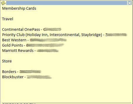 A sample of an Oulook note with member card numbers.