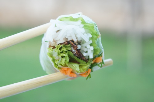 my char-grilled fish summer roll for Vietnamese Magazine.  I love the crispy skin and the combination.