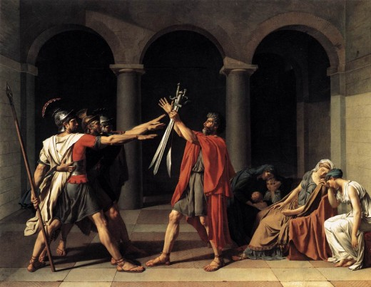 Painted by the French artist Jacques-Louis David in 1784, it remains one of the most famous and recognizable paintings form the neo-classical movement.
