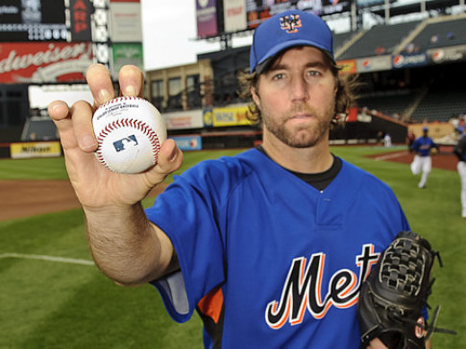 R.A. Dickey, currently the only man in the major leagues throwing the tenacious knuckleball.