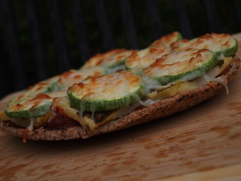 Pesto, Zucchini & Tofu Pita Pizza from the Healthy Pizza Recipes Series.