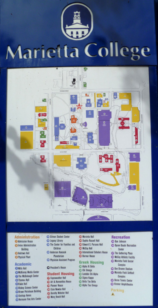 A map of the Marietta College campus
