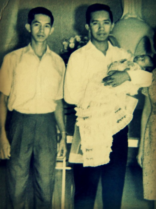 HAPPY FATHER'S DAY!   On my baptism day, papa with my godfather, uncle Joe carrying me.