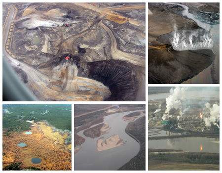 A collage of the tar sands in Canada