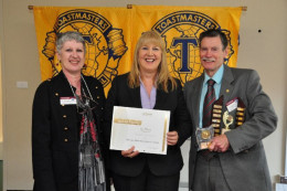 Here I am with a Toastmaster 'Winner,' Sandra Sweetman, (centre)  along with Divisional Governor, Julie Ackroyd at our Area Contests.  There are generally about  4 to 6 clubs in an 'Area.'