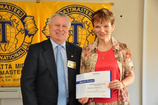 Here is John Taylor DTM, ex District 70 Governor and Dianne Sammut DTM - District Toastmasters of the Year 2009.   Both are still very activie members.    There are around 340 clubs in District 70 which comprises most of NSW and all of the ACT.