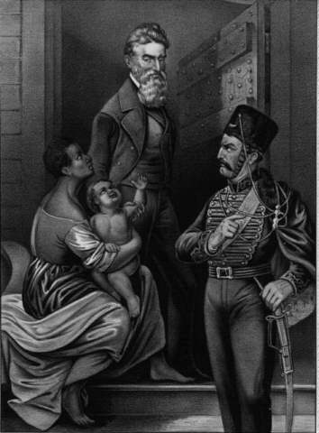 Idealized portrait of John Brown being adored by a slave mother and child as he walks to his execution on December 2, 1859.