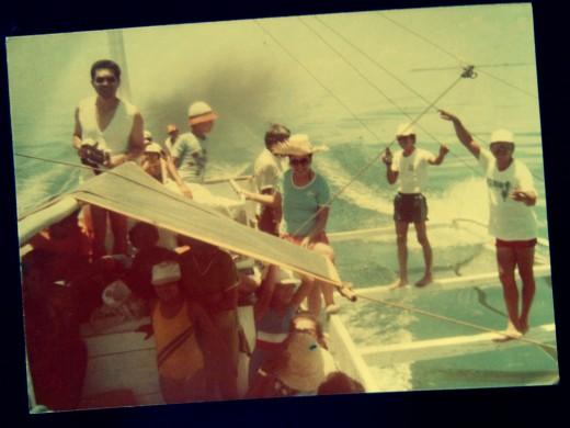 """Family and relatives on board the """"katig"""" pump-boat to Bantayan Island."""
