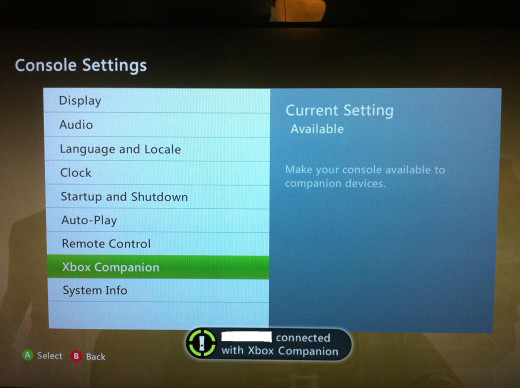 A message appears on your Xbox 360 screen that you've connected to Xbox Companion.
