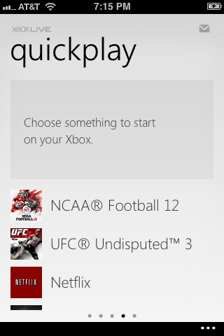 The large green button at the top of the Quickplay screen is replaced with a gray box after a successful connection.