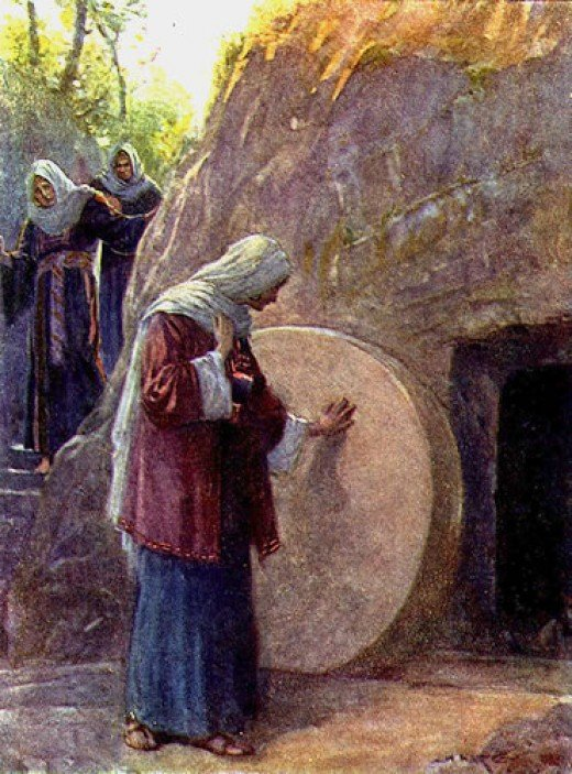 The Resurrection was first discovered when the heavy stone on Jesus' tomb was seen rolled away from the entrance. The women saw him first and his rise back to life spread like wildfire. There were dozens of witnesses.