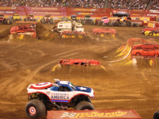 Some of the monster trucks were also named after super heros like Captain America, Iron Man and Spiderman!