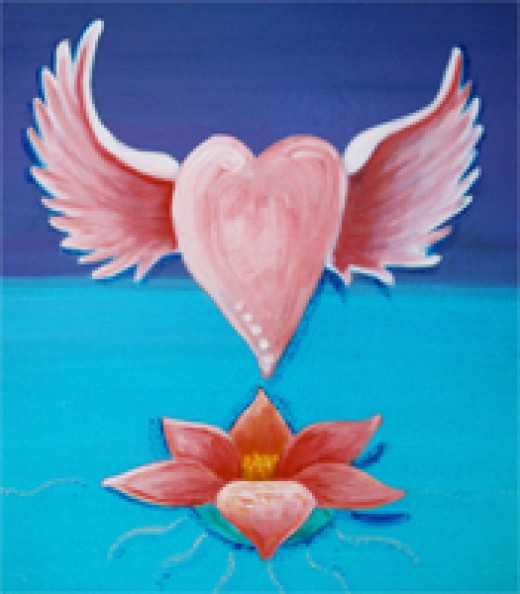 Flying Heart with Lotus