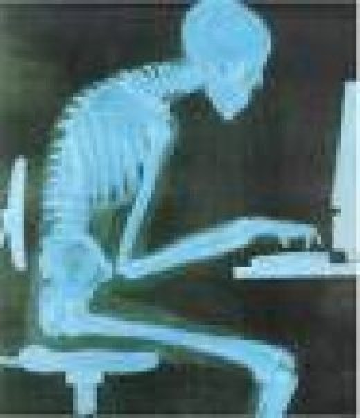 Avoid poor posture while sitting on a computer, good posture and with head and back straight and frequent breaks helps alleviate neck and back pain.