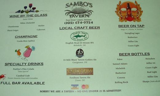 Vintage bar menu.