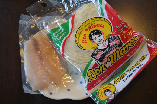 Preportioned package of tilapia and corn tortillas