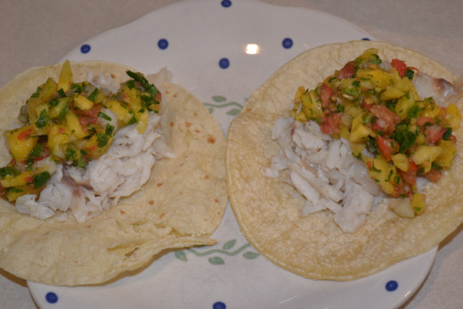 Tilapia Fish Tacos and Pineapple Tomato Salsa