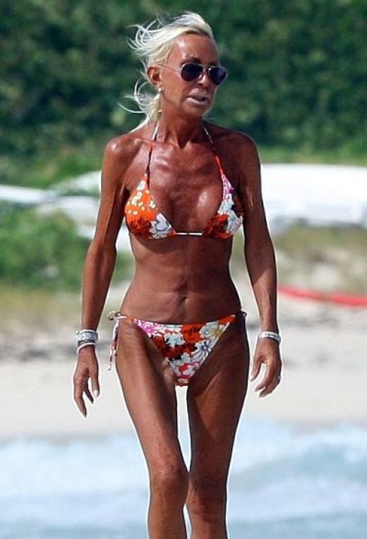 Donatella Versace looks bad in a bikini.