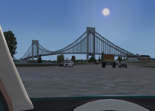 Landmark: Varrazano Narrows Bridge in Brooklyn, NY from the Belt Parkway. Almost identical to real life!